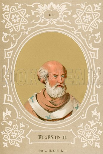 Eugenius II. Illustration in Romani Pontefici by Luigi Tripepi (Roma, 1879).