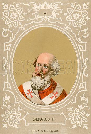 Sergius II. Illustration in Romani Pontefici by Luigi Tripepi (Roma, 1879).