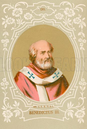 Benedictus III. Illustration in Romani Pontefici by Luigi Tripepi (Roma, 1879).