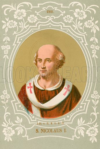 S Nicolaus I. Illustration in Romani Pontefici by Luigi Tripepi (Roma, 1879).