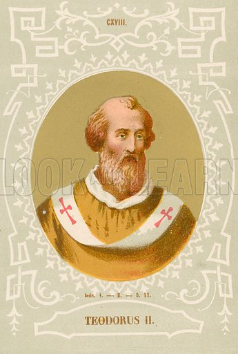 Teodorus II. Illustration in Romani Pontefici by Luigi Tripepi (Roma, 1879).