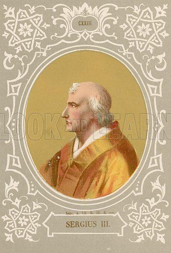 Sergius III. Illustration in Romani Pontefici by Luigi Tripepi (Roma, 1879).