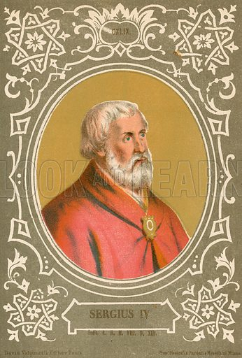 Sergius IV. Illustration in Romani Pontefici by Luigi Tripepi (Roma, 1879).