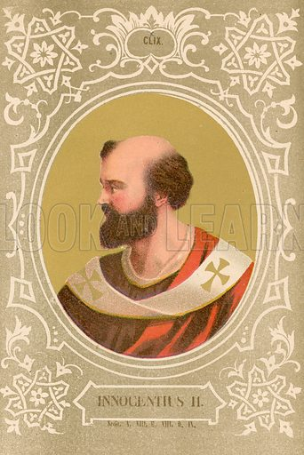 Innocentius II. Illustration in Romani Pontefici by Luigi Tripepi (Roma, 1879).