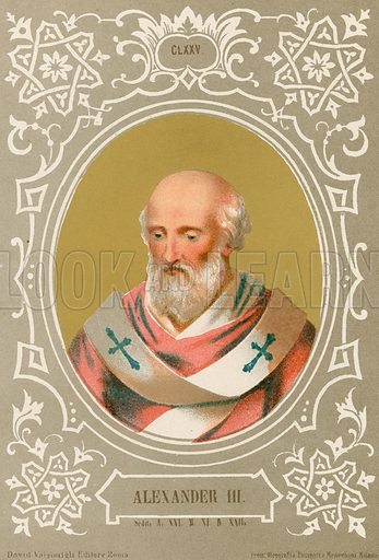 Alexander III. Illustration in Romani Pontefici by Luigi Tripepi (Roma, 1879).