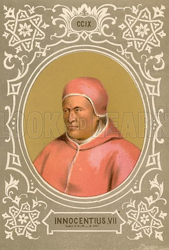 Innocentius VII. Illustration in Romani Pontefici by Luigi Tripepi (Roma, 1879).