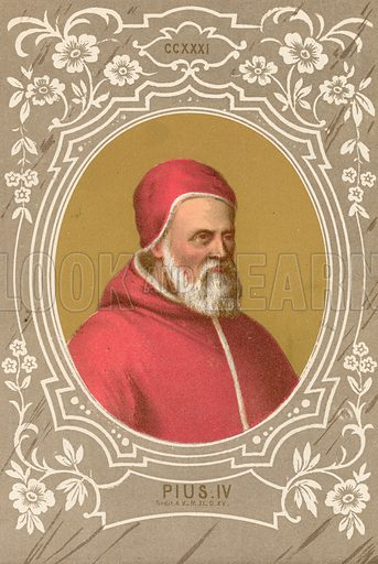 Pius IV. Illustration in Romani Pontefici by Luigi Tripepi (Roma, 1879).