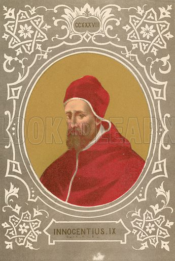 Innocentius IX. Illustration in Romani Pontefici by Luigi Tripepi (Roma, 1879).