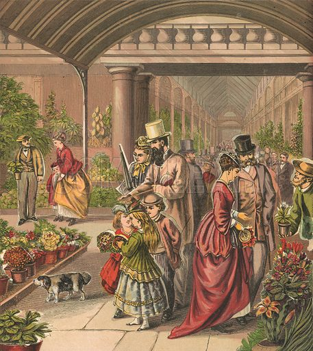 Flower market. Illustration for Warne's Picture Puzzle Toy Book (c 1880). Note cut-outs stuck onto pictures. Printed by Kronheim.