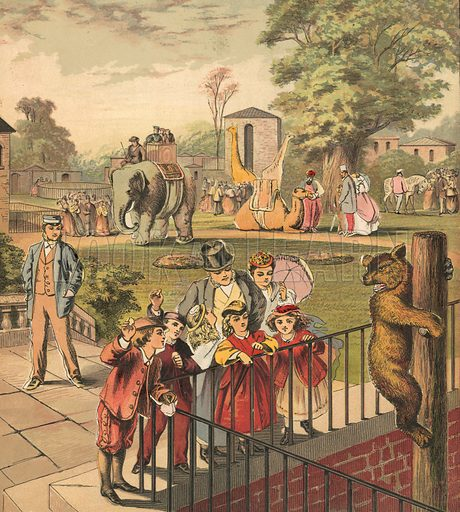 Going to the Zoo. Illustration for Warne's Picture Puzzle Toy Book (c 1880). Note cut-outs stuck onto pictures. Printed by Kronheim.