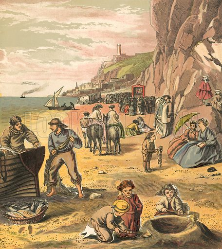 Beach. Illustration for Warne's Picture Puzzle Toy Book (c 1880). Note cut-outs stuck onto pictures. Printed by Kronheim.