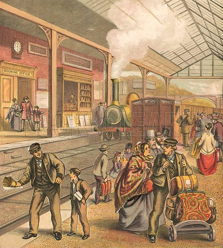 Railway station. Illustration for Warne's Picture Puzzle Toy Book (c 1880). Note cut-outs stuck onto pictures. Printed by Kronheim.