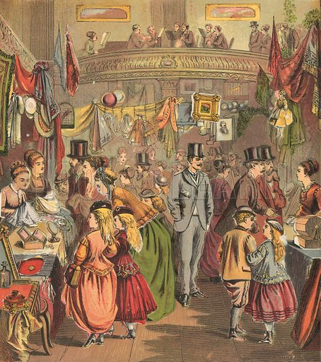 Antiques bazaar. Illustration for Warne's Picture Puzzle Toy Book (c 1880). Note cut-outs stuck onto pictures. Printed by Kronheim.