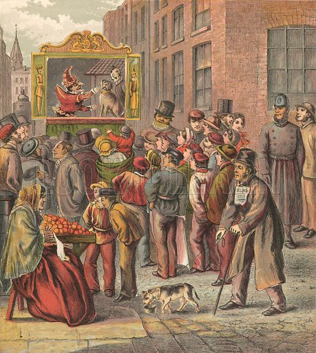 Punch and Judy show in the street. Illustration for Warne's Picture Puzzle Toy Book (c 1880). Note cut-outs stuck onto pictures. Printed by Kronheim.