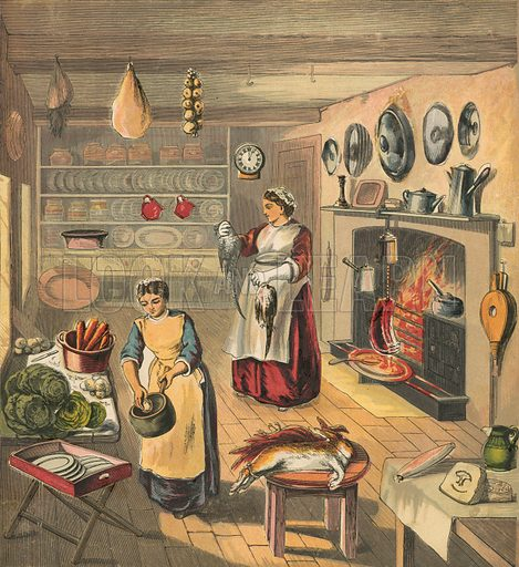 Kitchen. Illustration for Warne's Picture Puzzle Toy Book (c 1880). Note cut-outs stuck onto pictures. Printed by Kronheim.