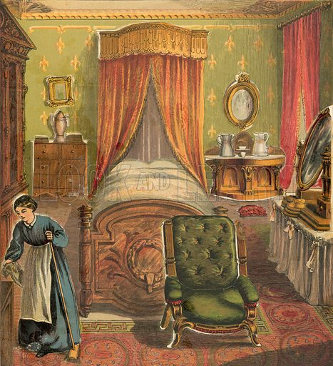Bedroom with maid cleaning. Illustration for Warne's Picture Puzzle Toy Book (c 1880). Note cut-outs stuck onto pictures. Printed by Kronheim.