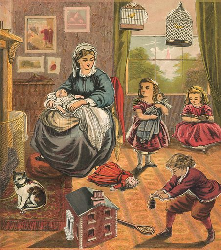 Children with mother. Illustration for Warne's Picture Puzzle Toy Book (c 1880). Note cut-outs stuck onto pictures. Printed by Kronheim.