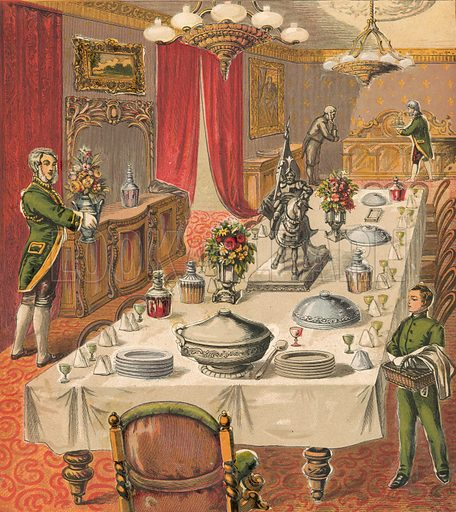 Dinner party. Illustration for Warne's Picture Puzzle Toy Book (c 1880). Note cut-outs stuck onto pictures. Printed by Kronheim.