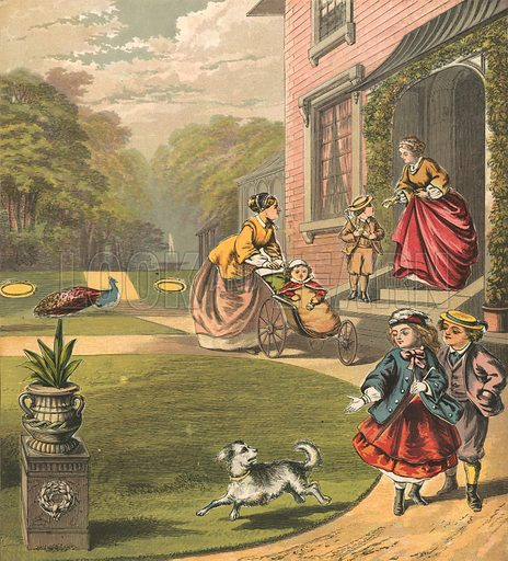 Out for a walk. Illustration for Warne's Picture Puzzle Toy Book (c 1880). Note cut-outs stuck onto pictures. Printed by Kronheim.