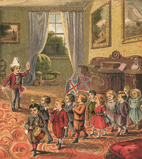 Children playing soldiers. Illustration for Warne's Picture Puzzle Toy Book (c 1880). Note cut-outs stuck onto pictures. Printed by Kronheim.