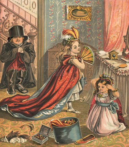 Children dressing up. Illustration for Warne's Picture Puzzle Toy Book (c 1880). Note cut-outs stuck onto pictures. Printed by Kronheim.