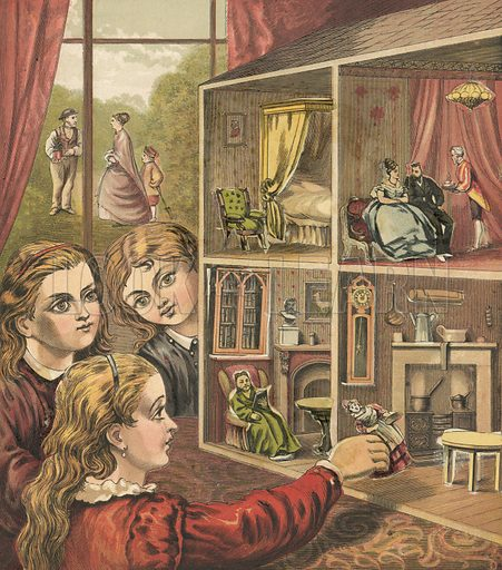 Girls playing with a dolls house. Illustration for Warne's Picture Puzzle Toy Book (c 1880). Note cut-outs stuck onto pictures. Printed by Kronheim.