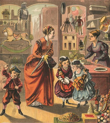 Visiting the toy shop. Illustration for Warne's Picture Puzzle Toy Book (c 1880). Note cut-outs stuck onto pictures. Printed by Kronheim.