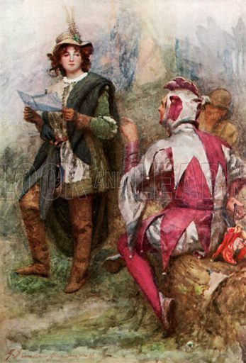 """""""Touchstone Laughed at the Verses."""" Illustration for Stories from Shakespeare by Thomas Carter (Harrap, 1910)."""