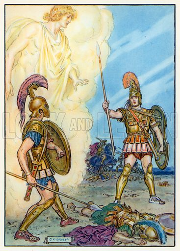 Hector saved by Apollo. Illustration for Stories from the Classics (Waverley, c 1910).