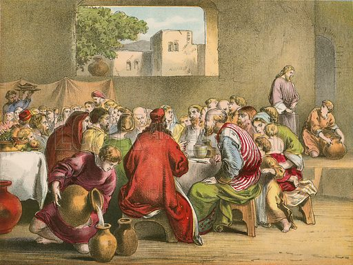 The marriage at Cana. Illustration for The Life of the Lord Jesus (Nelson, 1871).