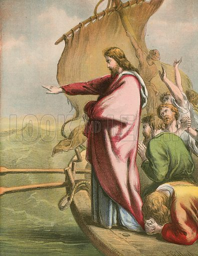 Jesus Calms the Waters. Illustration for The Life of the Lord Jesus (Nelson, 1871).