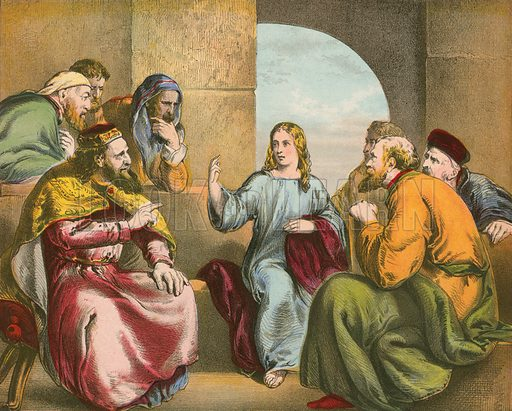 Jesus in the Temple. Illustration for The Life of the Lord Jesus (Nelson, 1871).