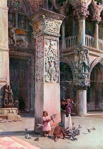 In the Piazzetta, Venice. Illustration for An Artist in Italy (Hodder and Stoughton, c 1910).