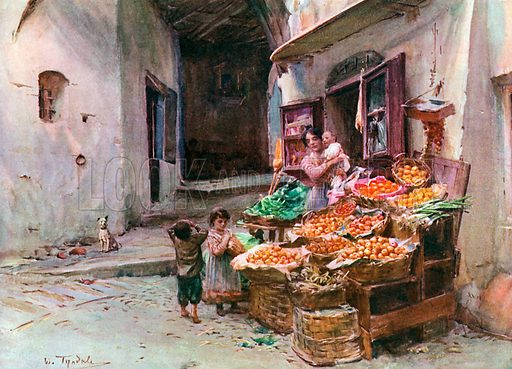 A Fruit Stall at San Remo. Illustration for An Artist in Italy (Hodder and Stoughton, c 1910).
