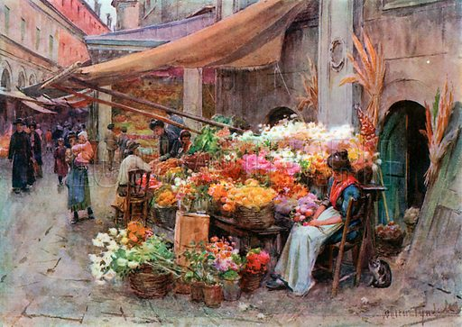 A Stall at the Rialto, Venice. Illustration for An Artist in Italy (Hodder and Stoughton, c 1910).