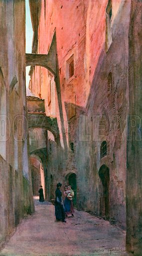 A Street in Siena. Illustration for An Artist in Italy (Hodder and Stoughton, c 1910).