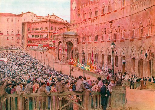 The Palio of Siena. Illustration for An Artist in Italy (Hodder and Stoughton, c 1910).