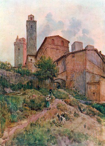 Via Capassi, San Gimignano. Illustration for An Artist in Italy (Hodder and Stoughton, c 1910).