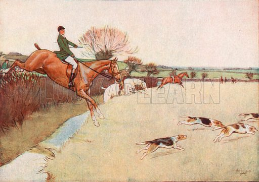 The Dogs came Dashing across the Field the Horses following close upon the Dogs. Illustration for Black Beauty by Anna Sewell (Jarrolds, c 1930).