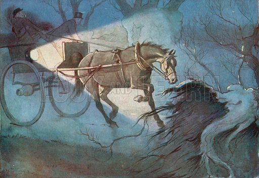 """""""I will never say I was not Frightened, for I was. I Stopped Still, and I Believe I Trembled."""" Illustration for Black Beauty by Anna Sewell (Jarrolds, c 1930)."""