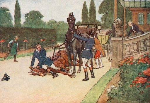 York Promptly set himself down Flat on her Head to Prevent her Struggling. Illustration for Black Beauty by Anna Sewell (Jarrolds, c 1930).