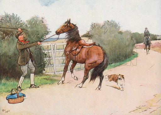 Then the Boy got off and gave him a Hard Thrashing. Illustration for Black Beauty by Anna Sewell (Jarrolds, c 1930).