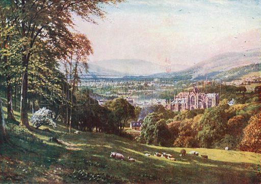 Melrose, Roxburghshire. Illustration for Bonnie Scotland by AR Hope Moncrieff (A&C Black, 1912).