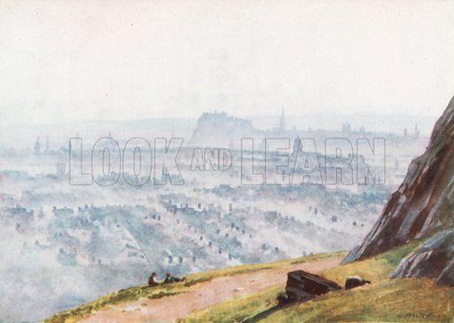 Edinburgh from Salisbury Crags – Evening. Illustration for Bonnie Scotland by AR Hope Moncrieff (A&C Black, 1912).