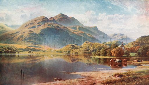 Loch Achray, the Trossachs, Perthshire. Illustration for Bonnie Scotland by AR Hope Moncrieff (A&C Black, 1912).