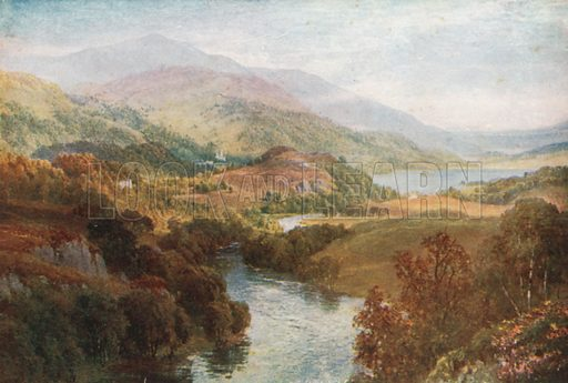 The River Teith, with Lochs Achray and Vennachar, Perthshire. Illustration for Bonnie Scotland by AR Hope Moncrieff (A&C Black, 1912).