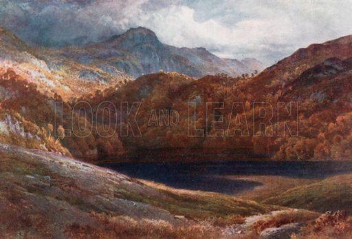 Ben A'An, Corner of Loch Katrine, Perthshire. Illustration for Bonnie Scotland by AR Hope Moncrieff (A&C Black, 1912).