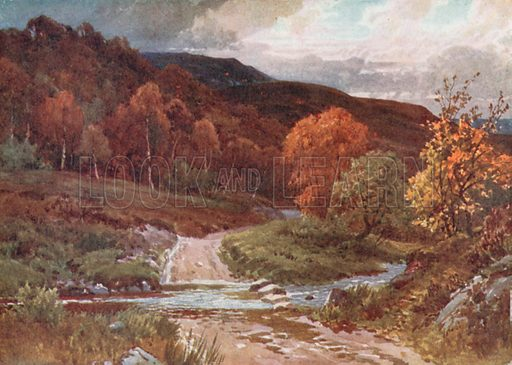 In Glenfinals, Perthshire. Illustration for Bonnie Scotland by AR Hope Moncrieff (A&C Black, 1912).