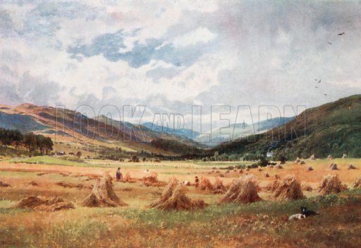 Looking up Glen Lochay near Killin, Perthshire. Illustration for Bonnie Scotland by AR Hope Moncrieff (A&C Black, 1912).