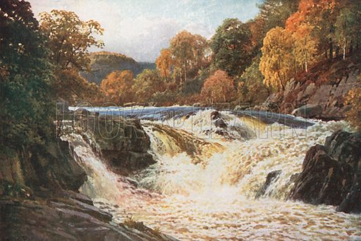 The Falls of Tummel, Perthshire. Illustration for Bonnie Scotland by AR Hope Moncrieff (A&C Black, 1912).